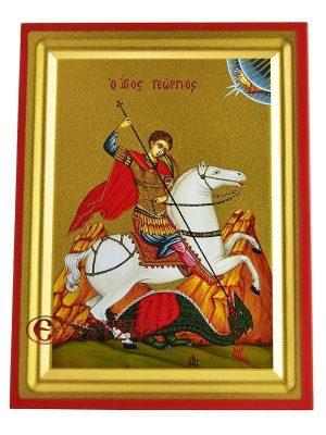 Άγιος Γεώργιος Μεταξοτυπία Σε Ξύλο ΄Β