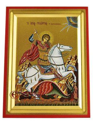 Άγιος Γεώργιος Μεταξοτυπία Σε Ξύλο Ά