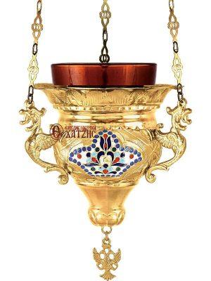 Καντήλι Κρεμαστό Βυζαντινό Σμαλτάκι Φλόγα