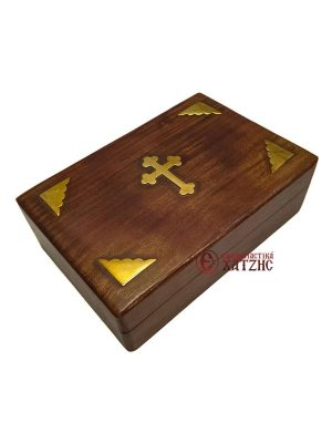 Κουτί Ξύλινο Με Μπρούτζινα Διακοσμητικά 9609